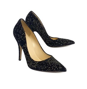 Kate Spade Black Gold Speckled Suede Pumps