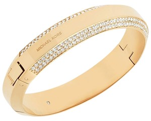 Michael Kors Michael Kors MKJ5500 Logo Plaque & Crystals Gold tone Bangle Bracelet