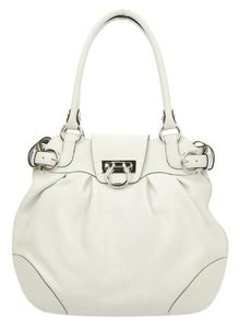 Salvatore Ferragamo Silver Hardware Tote in white