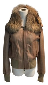 S.W.O.R.D. 66 44 Taupe Leather w/ gold knit Leather Jacket