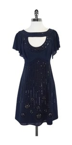 Nanette Lepore short dress Blue Black Beaded Silk on Tradesy