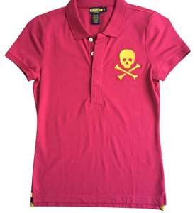 Ralph Lauren Skull Crossbones Polo Golf T Shirt Red