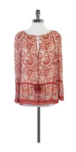 Tory Burch Red Patterned Silk Top