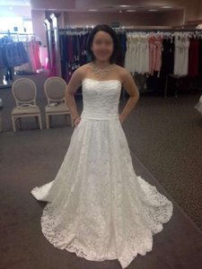 David's Bridal Soft White Floral Lace Overall Galina Wg3512 Sweetheart Strapless Feminine Wedding Dress Size 4 (S)