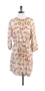 Tucker short dress Pink & Grey Floral Print Silk on Tradesy