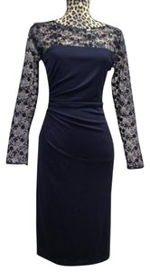 David Meister Floral Illusion Ruched Evening Wedding Sequin Dress