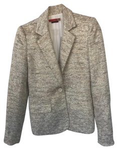 Alice + Olivia Metallic Tweed Tweed Holiday Ivory gold Blazer