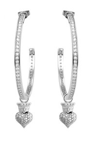 King Baby Large Pave CZ Crowned Heart Hoops