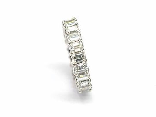 Other Fine,Emerald,Cut,Diamond,Shared,Prong,Eternity,Band,Ring,White,Gold,4.80ct,Sz7