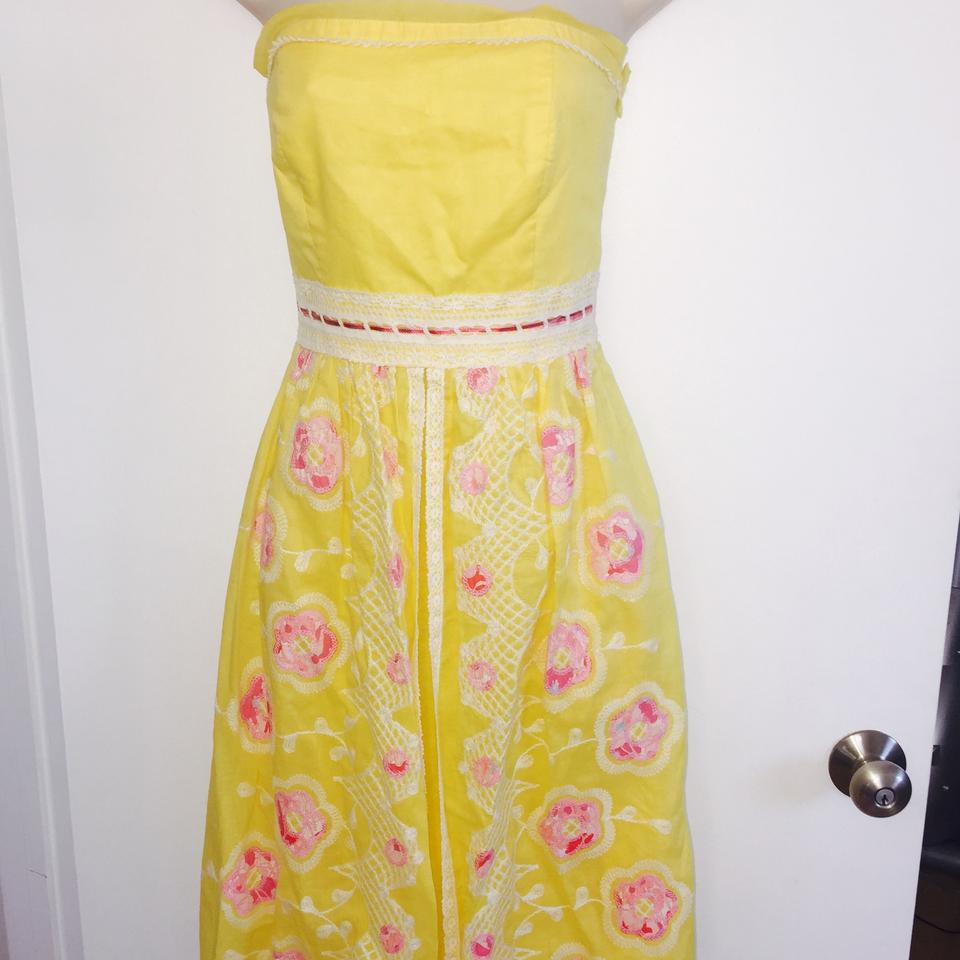 Cynthia Steffe Canary Yellow Knee Length Cocktail Dress Size 4 (S ...