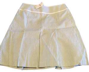 Ann Taylor LOFT Pleated Skirt NWT white, green and creme stripes