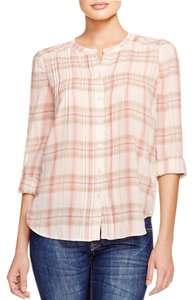 Joie Button Down Shirt Blush Plaid