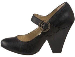 Seychelles Mary Jane Leather Chunky Gold Black Pumps