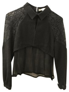 Rodarte Lace Sheer Designer Top black