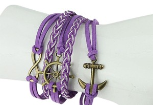 PURPLE INFINITY ANCHOR LEATHER MULTI STRAP ADJUSTABLE BRACELET
