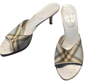 Burberry Nova Check Mules White Sandals