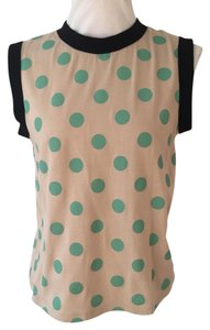 Marni Polka Dot Sleeveless Casual T Shirt Beige