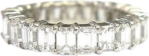 Fine,Emerald,Cut,Diamond,Shared,Prong,Eternity,Band,Ring,Wg,3.90ct,Sz7.5