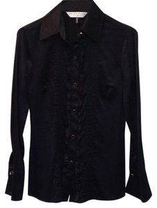 Trina Turk Silk Button Down Ruffle Top Black