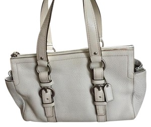 Coach Leather Classic Satchel in white