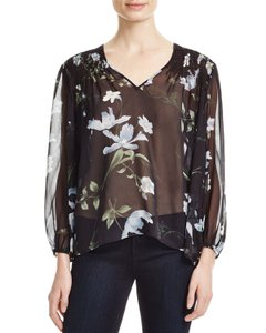 Joie Floral V-neck Silk High Low Hem 3/4 Sleeve Top Black