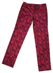 White House | Black Market Jacquard Slim Ankle Skinny Pants RED