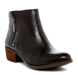 Lucky Brand Bootie Leather Chunky Black Boots