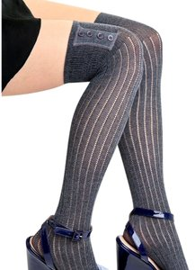 NEW! French Curve Buttoned Ribbed Knit Over-the-Knee Socks, Charcoal