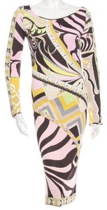 Emilio Pucci Silk Longsleeve Round Neck Belted Wrap Dress