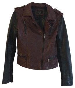 Laundry by Shelli Segal Burgundy & Black Leather Jacket