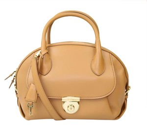 Salvatore Ferragamo Gold Satchel in tan