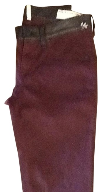 Item - Oxblood Leather Waist Boot Cut Jeans Size 25 (2, XS)