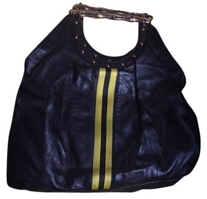 Gucci Tote in Black With Yellow Silk Stripes