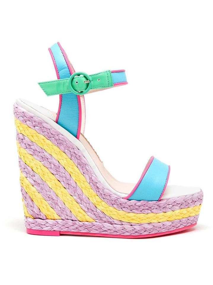 Sophia Webster Multicolor Blue Pink Green It Yellow Lucita Malibu Wedge It Green Sandals 668843