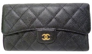 Chanel Chanel Timeless Classic Black Caviar Trifold Flap Clutch Wallet GHW
