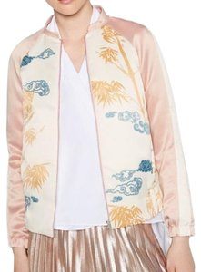 Zara Printed Embroidered Bomber Pink Jacket