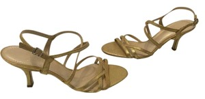 Alex Marie Gold embossed leather strappy ankle strap Sandals