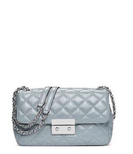 Michael Kors Patent Leather Silver Hardware Nwt Satchel in Dusty Blue