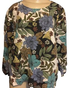 Hot Cotton Top Blie, Green and Brown Floral