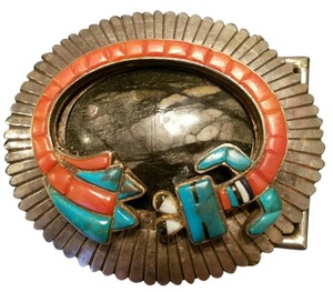 Vintage KEE JOE BENALLY Silver/ONYX/CORAL/TURQUOISE Belt Buckle