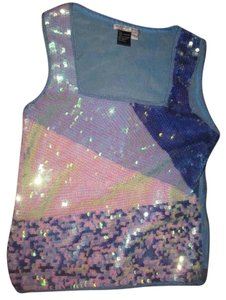 Alberto Makali Excellent Vintage Sleeveless Tank/camisole Style Color Block Design Nice Dressy Separate Top front is iridescent sequins in blues/back sheer in shades of blue