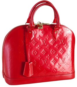 Louis Vuitton Alma Vernis Handbags Satchel in Red