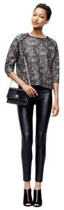 Ann Taylor Petit Faux Leather Draw String Skinny Pants BLACK