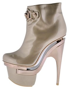 Versace Leather Platform Ankle Rose Gold Boots