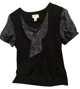 Ann Taylor LOFT Top Black sweater with black/Navy/tan blouse