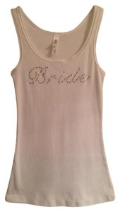 Gilligan & O'Malley Bride Bachellorette Top White/Rhinestones