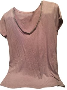 New York & Company T Shirt Lilac with Crystals neckline
