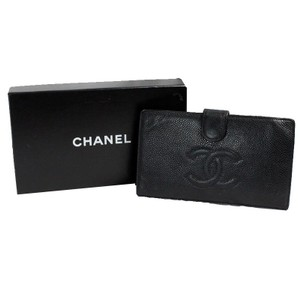 Chanel Authentic Chanel Long Caviar Wallet with Box