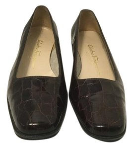 Salvatore Ferragamo Brown embossed leather snake pattern C width Wedges