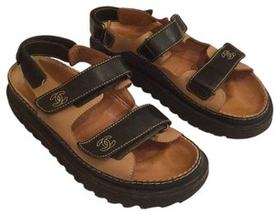 Chanel Tan with Brown Straps Sandals